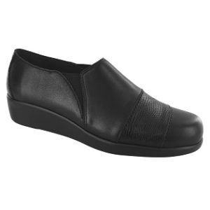women's black lizard slip on shoe
