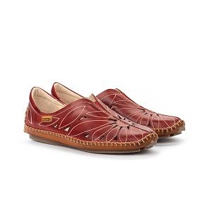 women's red leather moccasin