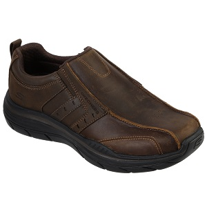 Men's brown leather comfort loafer