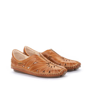 women's brandy leather moccasin comfort shoe
