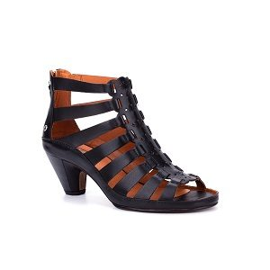 women's black strappy heel