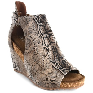 brown snake print wedge sandal