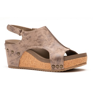 brown faux distressed leather sandal