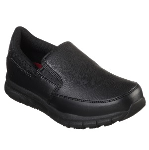 women's slip on slip resistant black shoe