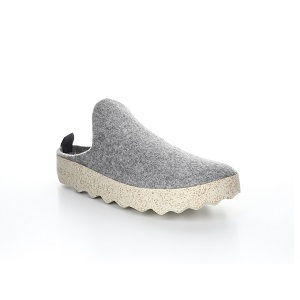 women's wool tweed clog in light grey