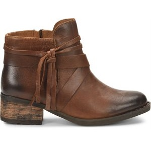 women's brown leather stacked heel bootie