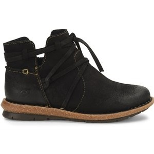 women's distressed black leather boot