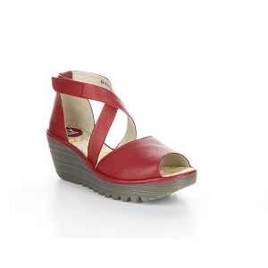 women's red ankle strap wedge sandal
