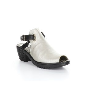 women's silver black wedge sandal