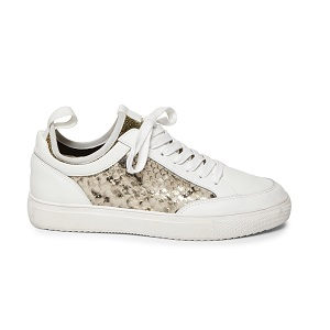 women's white and metallic snake high wall sneaker