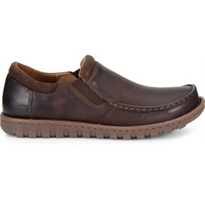 men's brown leather slip on shoe