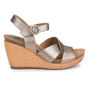women's gold woven wedge sandal