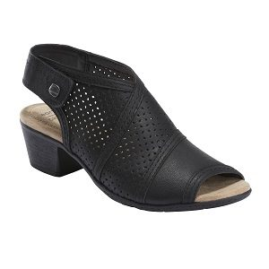 Ladies perforated heeled sandal in black