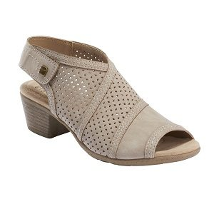 Ladies perforated dress shoe in taupe