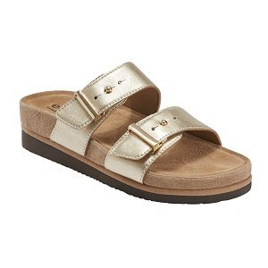 Ladies metallic gold slide sandal