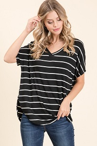 Ladies Black V-Neck Stripe Tunic
