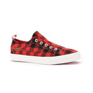 women's red plaid fashion sneaker