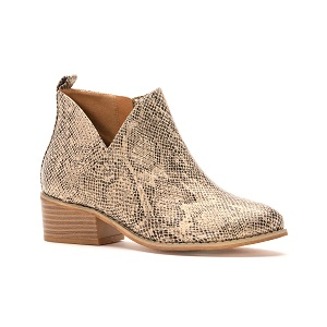 women's tan snake print ankle boot