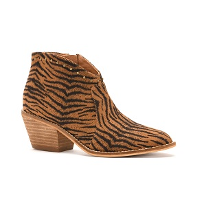 women's brown tiger print ankle boot