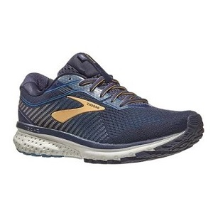 blue and gold athletic running shoe