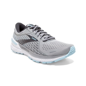 women's light grey and blue running shoe