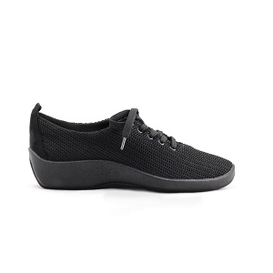 women's black knit lace up shoe