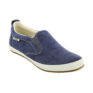 women's washed blue canvas slip-on sneaker