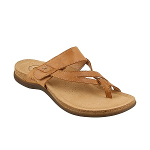women's tan leather sandal with hook and loop closure