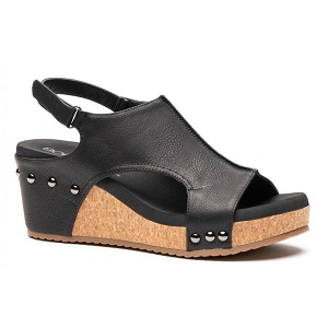 women's black cork wedge sandal