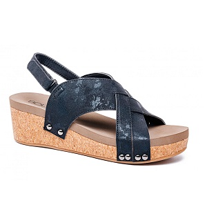 women's studded black wedge sandal