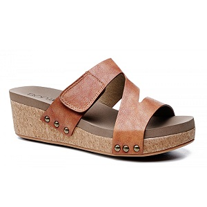 women's adjustable strap cork wedge sandal