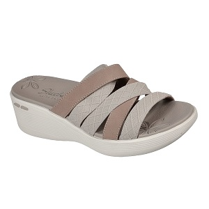 women's taupe wedge comfort sandal