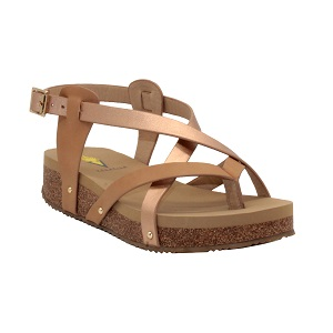 women's strappy rose gold sandal