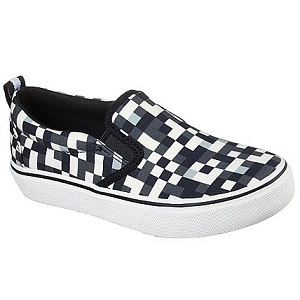 kids slip on sneaker in black and white