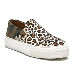 women's slip on camo and animal print sneaker