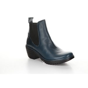 women's blue leather ankle boot