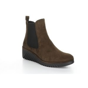 women's double gore brown ankle boot