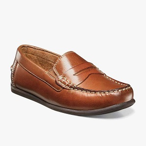 boy's tan penny loafer style shoe