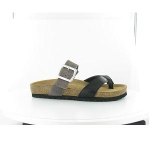women's black and taupe cork sandal