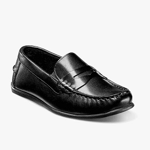 boys' black driving moc style penny loafer