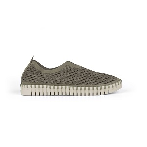 women's perforated comfort slip on in army green