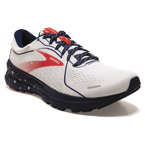men's red white and blue road support running shoe
