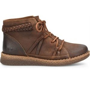 women's distressed toe brown leather lace up ankle boot