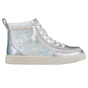 kids high top glitter lace up shoe with wrap around zipper