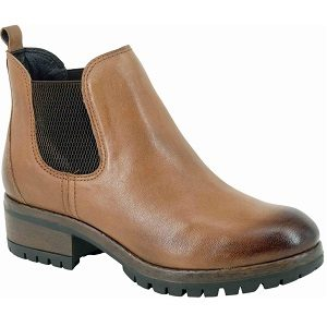 ladies rugged sole brown leather ankle boot
